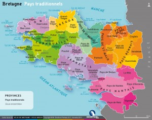 Carte pays traditionnels Bretagne